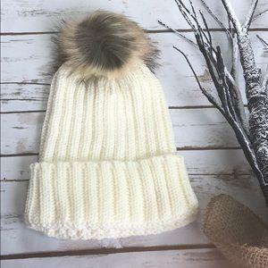 Snow white beanie hat